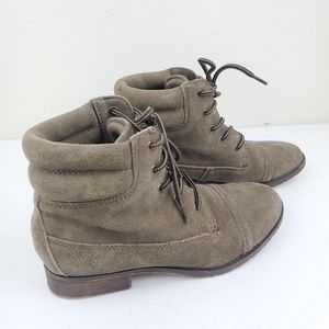 STEVE MADDEN Maecie Suede Lace Up Ankle Boots